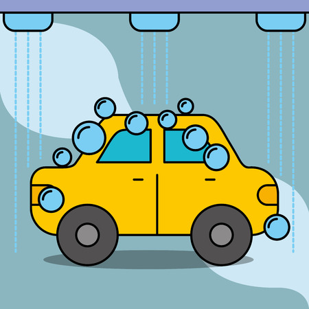 workshop car wash service maintenance vector illustration Çizim
