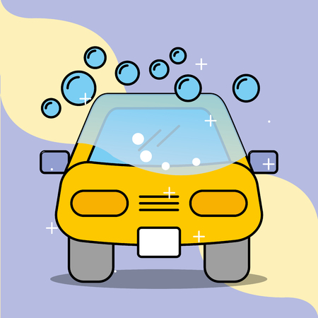 car wash soap bubbles service maintenance vector illustration Illustration