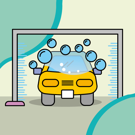 service maintenance car wash machine water and soap vector illustration Stock Illustratie