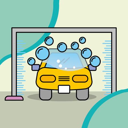 service maintenance car wash machine water and soap vector illustration Illustration