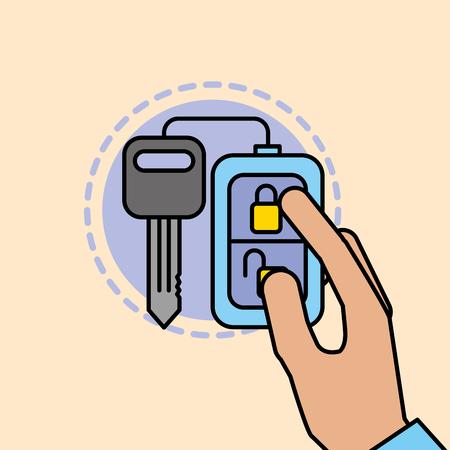 hand holding remote key car service maintenance vector illustration Illustration