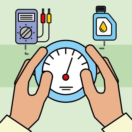 hand holding speedometer electrical car service maintenance vector illustration Stock Illustratie