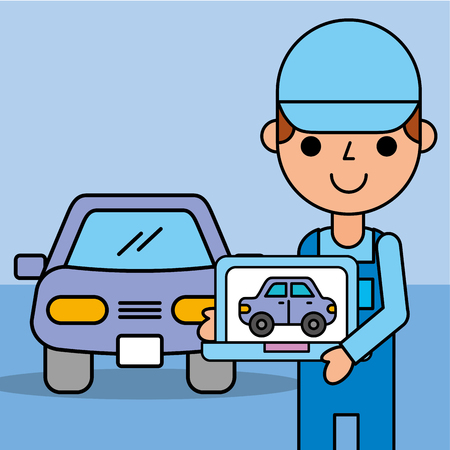 employee expert holding computer diagnostic car service vector illustration