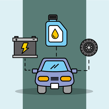 car service maintenance battery wheel and oil bottle vector illustration Stock Illustratie