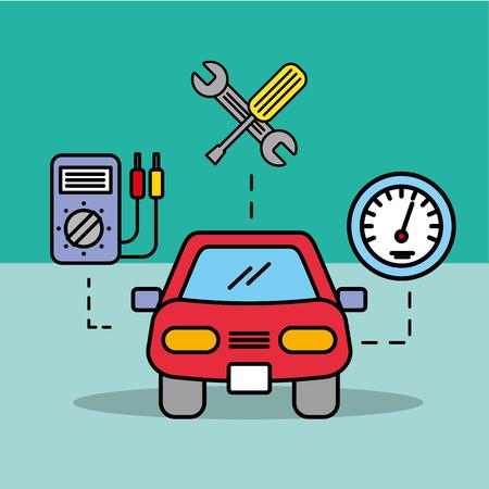 car service electric speedometer repair tools vector illustration