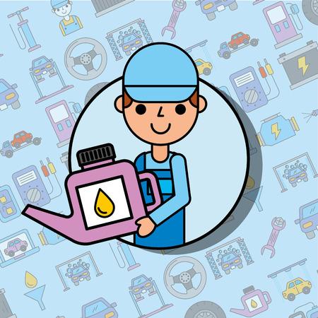 worker holding engine oil car service maintenance vector illustration Illustration