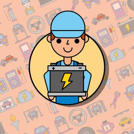 employee holding battery car service maintenance vector illustration Illustration