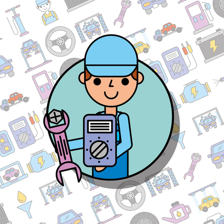 employee holding wrench screw mechanical car service vector illustration Illustration