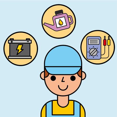 portrait employee car service maintenance vector illustration