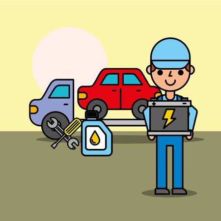 worker tow truck car service battery oil bottle vector illustration Illustration