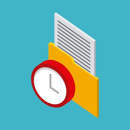 storage yellow folder with letter red clock vector illustration isometric Illustration
