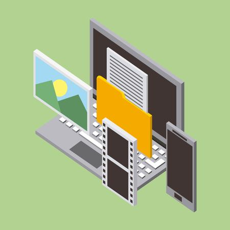 computing storage with video photos cellphone folder letter vector illustration isometric