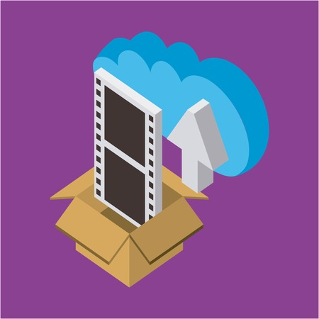 cloud storage box with  movie arrow data upload save vector illustration isometric Stock Illustratie