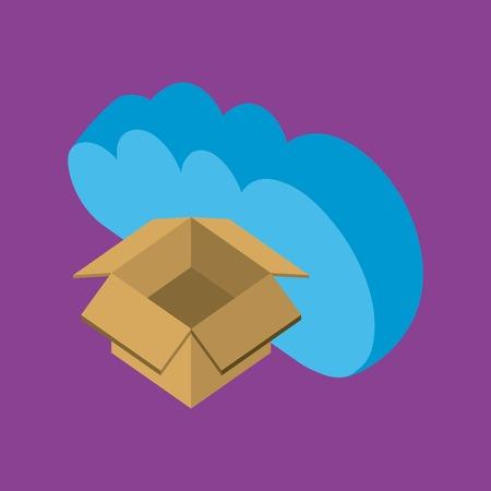 cloud computing storage open box data upload vector illustration isometric