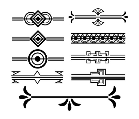 art deco vignette and border decoration elegant motif vector illustration white background Illustration