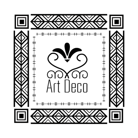 art deco frame geometric abstract decorative vector illustration white background