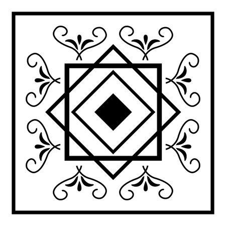 art deco floral scroll ornament vintage style vector illustration white background