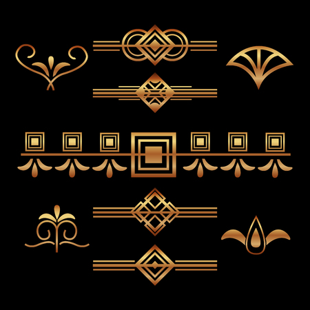 art deco vignette and border decoration elegant motif vector illustration dark background