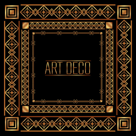 art deco frame geometric abstract decorative vector illustration dark background