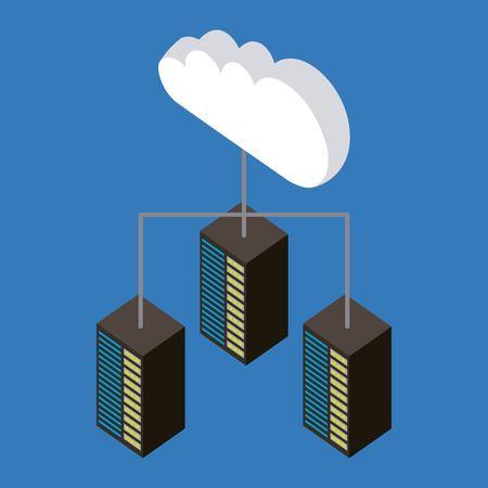 cloud storage connection datas upload vector illustration isometric