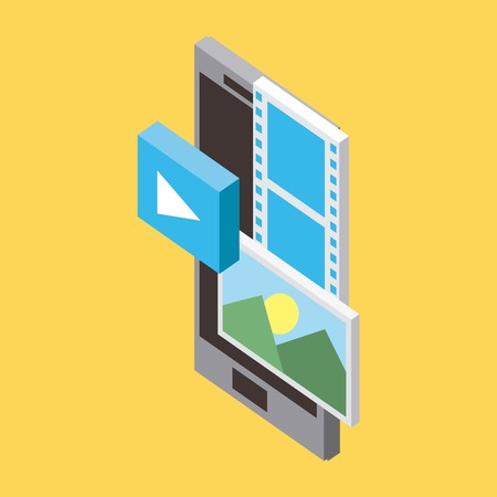 storage cellphone technology video  photos data upload vector illustration isometric