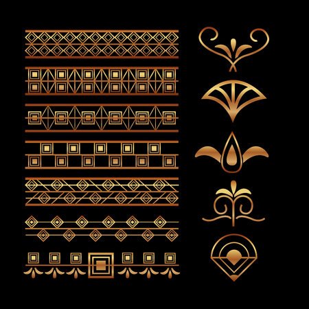 art deco vignette and border decoration elegant motif vector illustration dark background 版權商用圖片 - 101781023