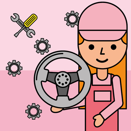 mechanic girl with steering wheel car service vector illustration