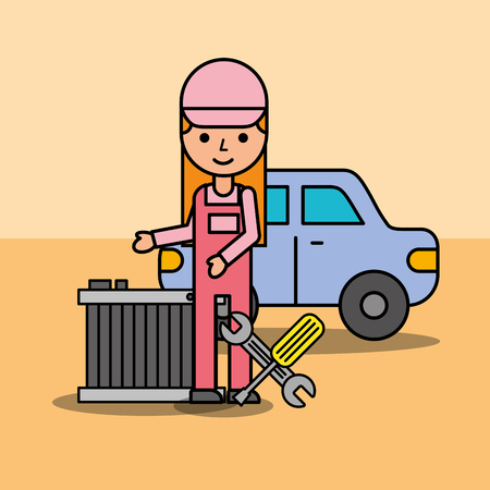 mechanic girl with radiator and tools car service vector illustration