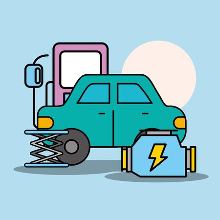 car service electrical service maintenance vector illustration