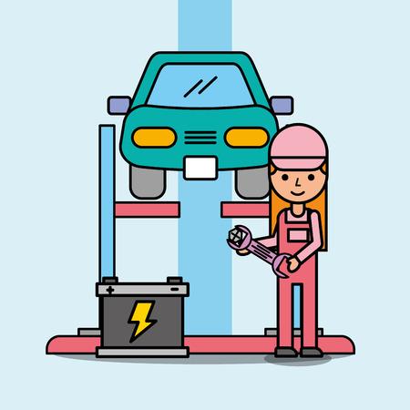 mechanic girl repairing battery car service vector illustration