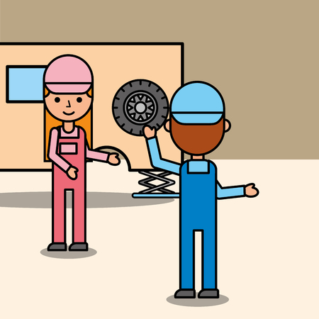 car mechanic boy and girl working in auto repair service vector illustration Banque d'images - 101809252