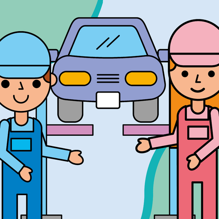 mechanic girl and boy car service maintenance vector illustration