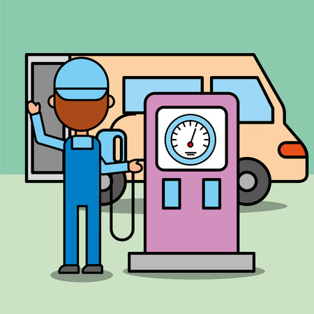 mechanic boy in station gasoline pump car service vector illustration Illustration