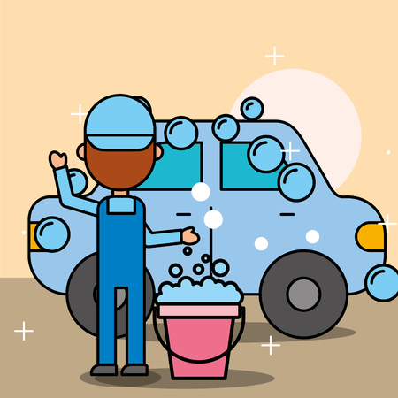 mechanic boy car wash bucket soap bubbles service vector illustration