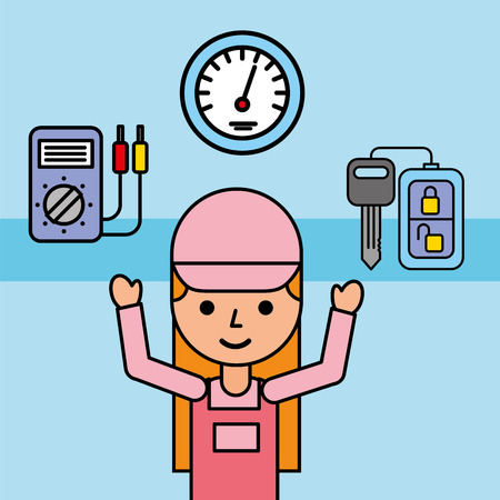 mechanic girl car service key speedometer vector illustration Çizim