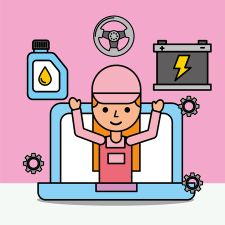 mechanic girl in laptop website car service vector illustration Illustration