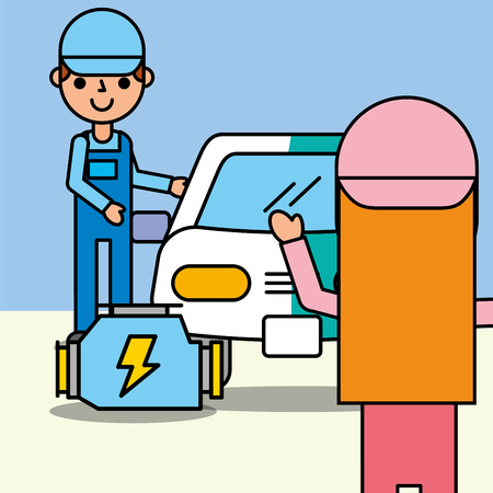 mechanic girl and boy painting vehicle car service vector illustration Stock Illustratie