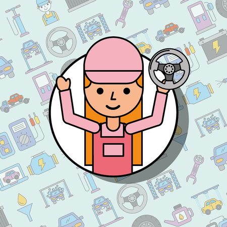 mechanic girl holding steering wheel car service vector illustration