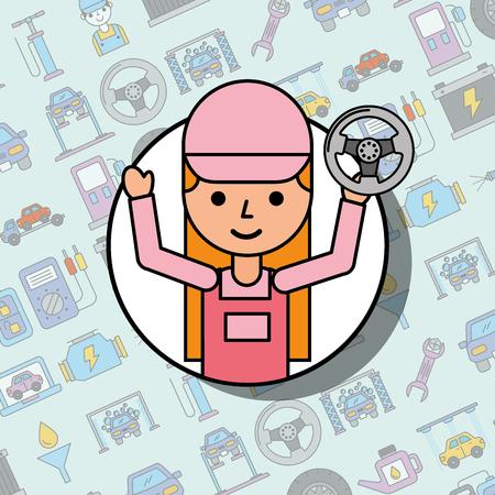 mechanic girl holding steering wheel car service vector illustration