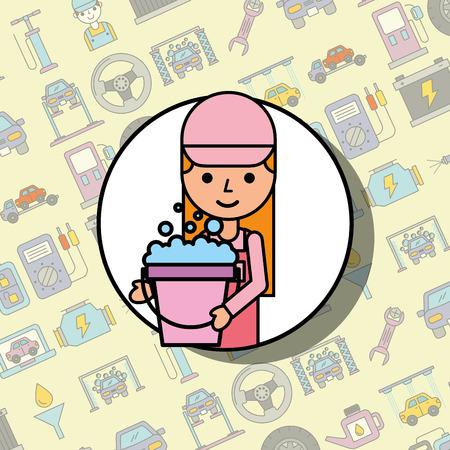 car service mechanic girl holding soap foam bucket vector illustration