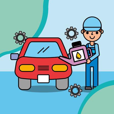 mechanic boy holding oil canister car service vector illustration Banque d'images - 101809338
