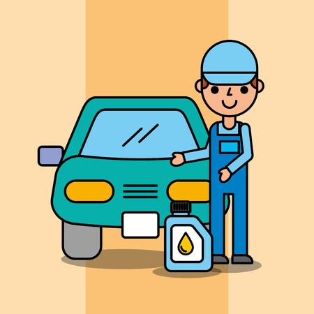 Ilustración de vector de servicio de coche mecánico de trabajador y bote de aceite
