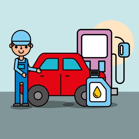 Trabajador bomba gasolinera aceite de motor servicio de coche ilustración vectorial