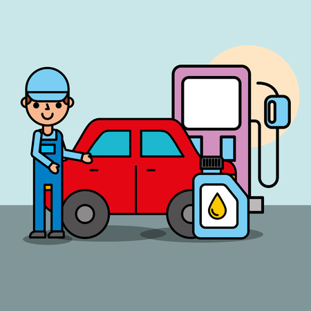 worker pump gasoline station engine oil car service vector illustration Çizim