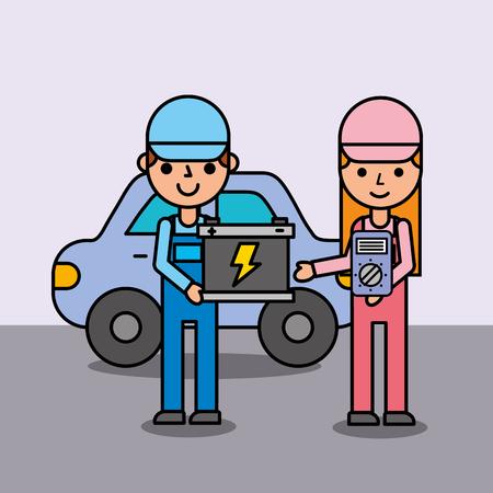 Menschen Cartoon hält Batterie und elektrische Service-Auto Vektor-Illustration
