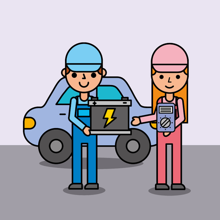 people cartoon holding battery and electrical service car vector illustration Ilustração