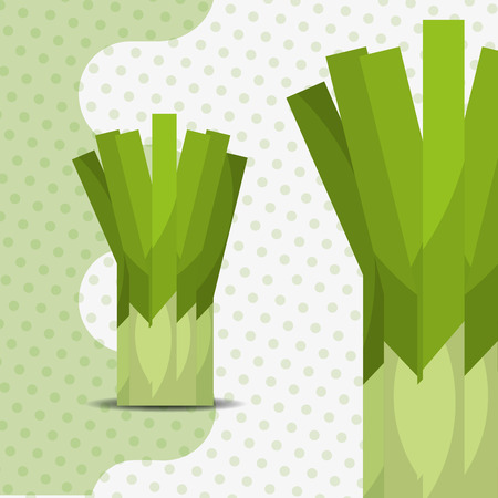 fresh vegetable chives on dots background vector illustration 일러스트