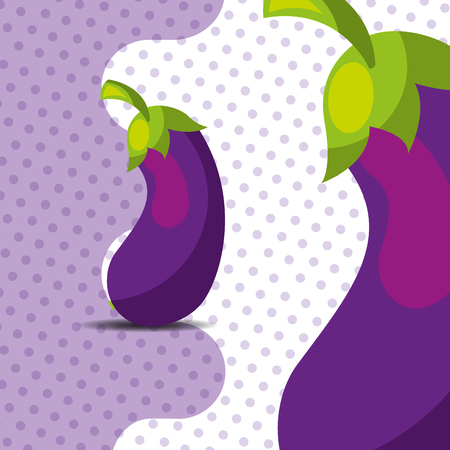 fresh vegetable eggplant on dots background vector illustration