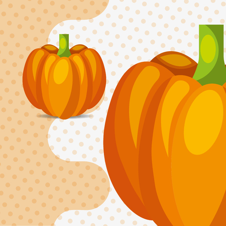 fresh vegetable pumpkin on dots background vector illustration