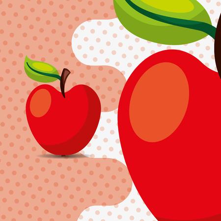 fresh fruit natural apple on dots background vector illustration